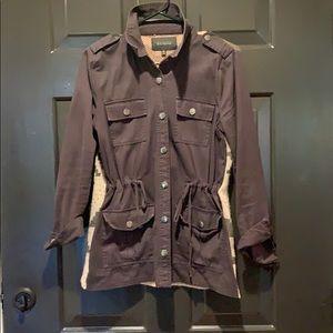 Charcoal gray utility sweater jacket